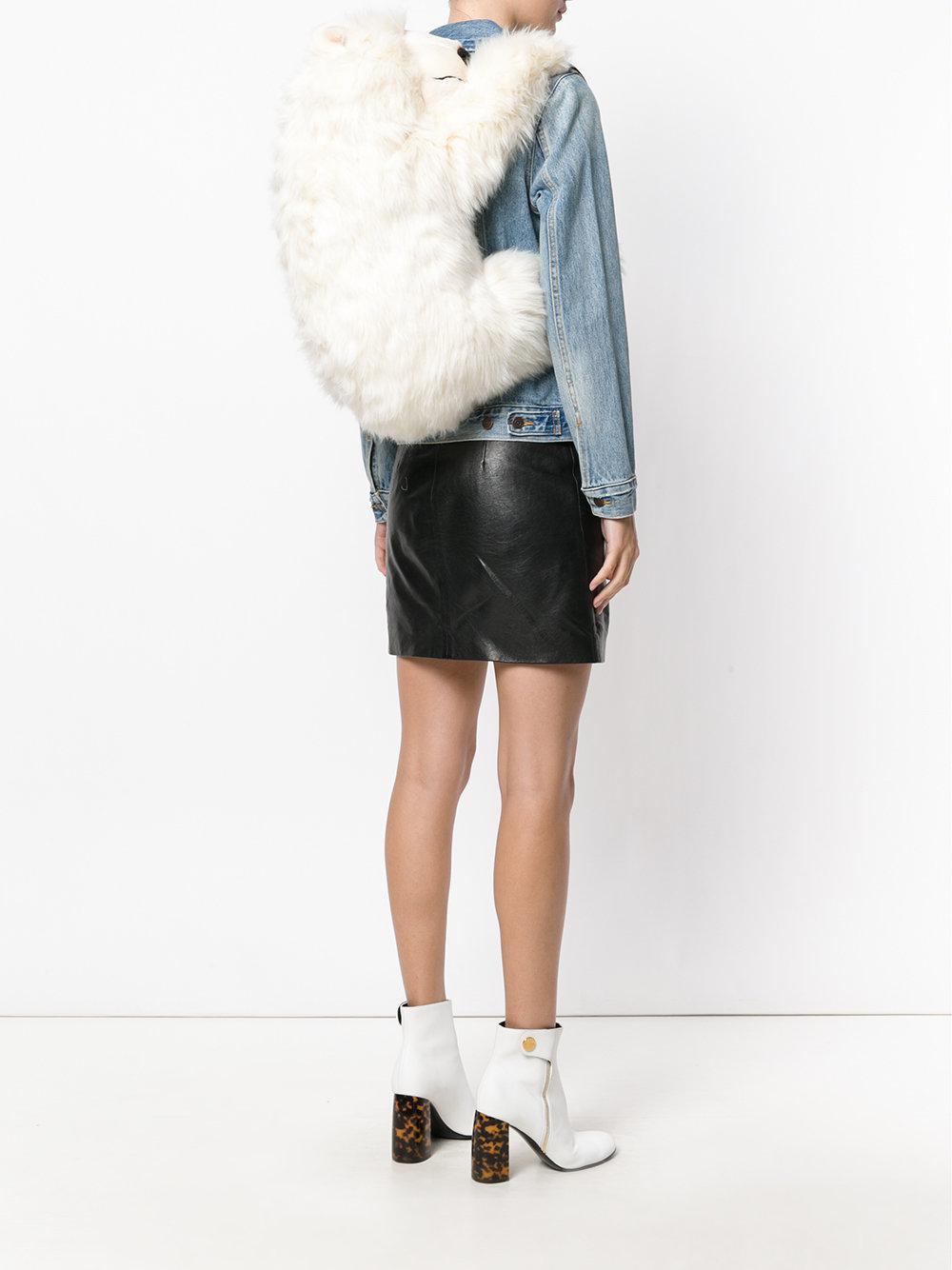 Dolce & Gabbana Leather Polar Bear Backpack in White