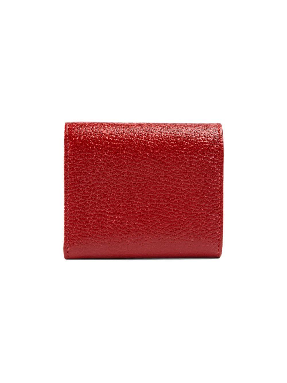 0659bd74bd2c83 Gucci GG Marmont Leather Wallet in Red - Lyst