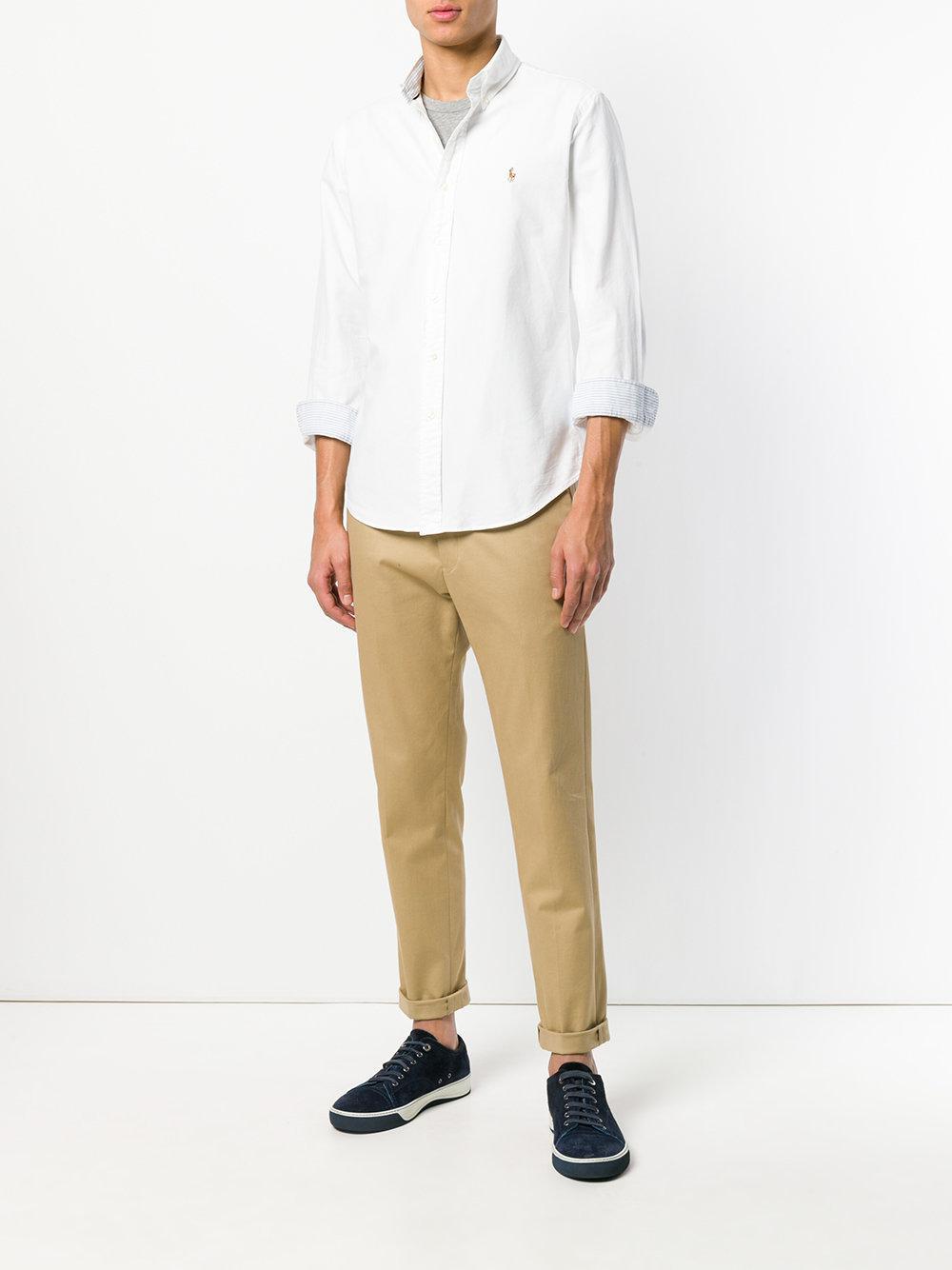 d71d112ecc4 Lyst - Logo embroidered shirt Ralph Lauren pour homme en coloris Blanc