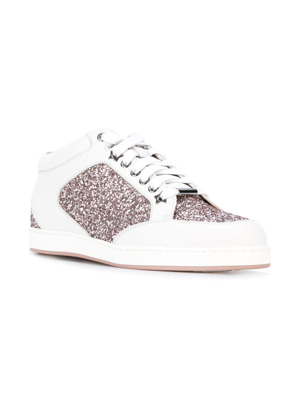 Jimmy Choo Leather Mid-top Miami Glitter Sneakers in White