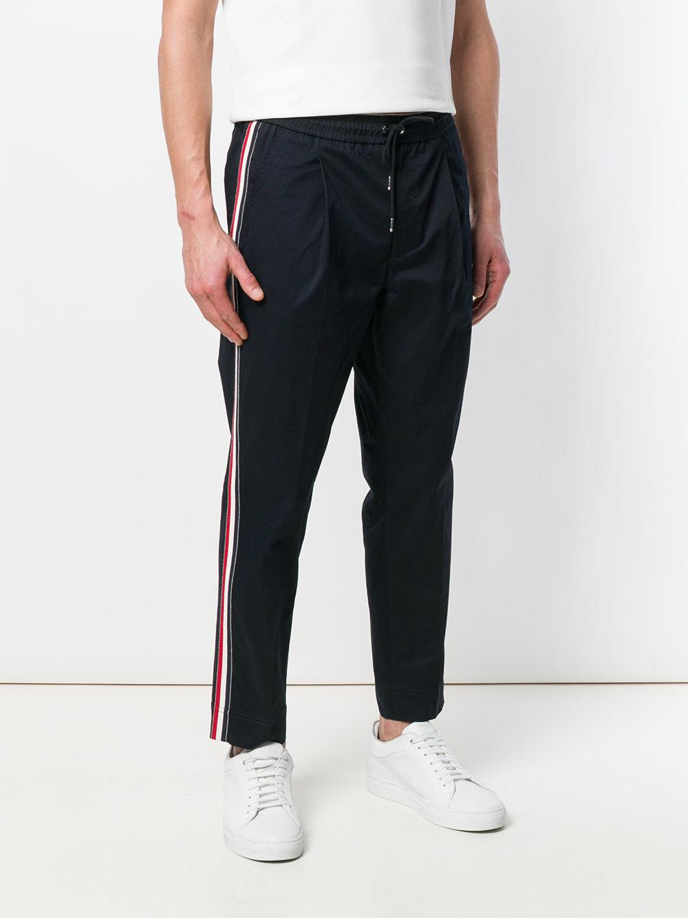 Moncler Cotton Single Pleat Track Pants in Blue for Men
