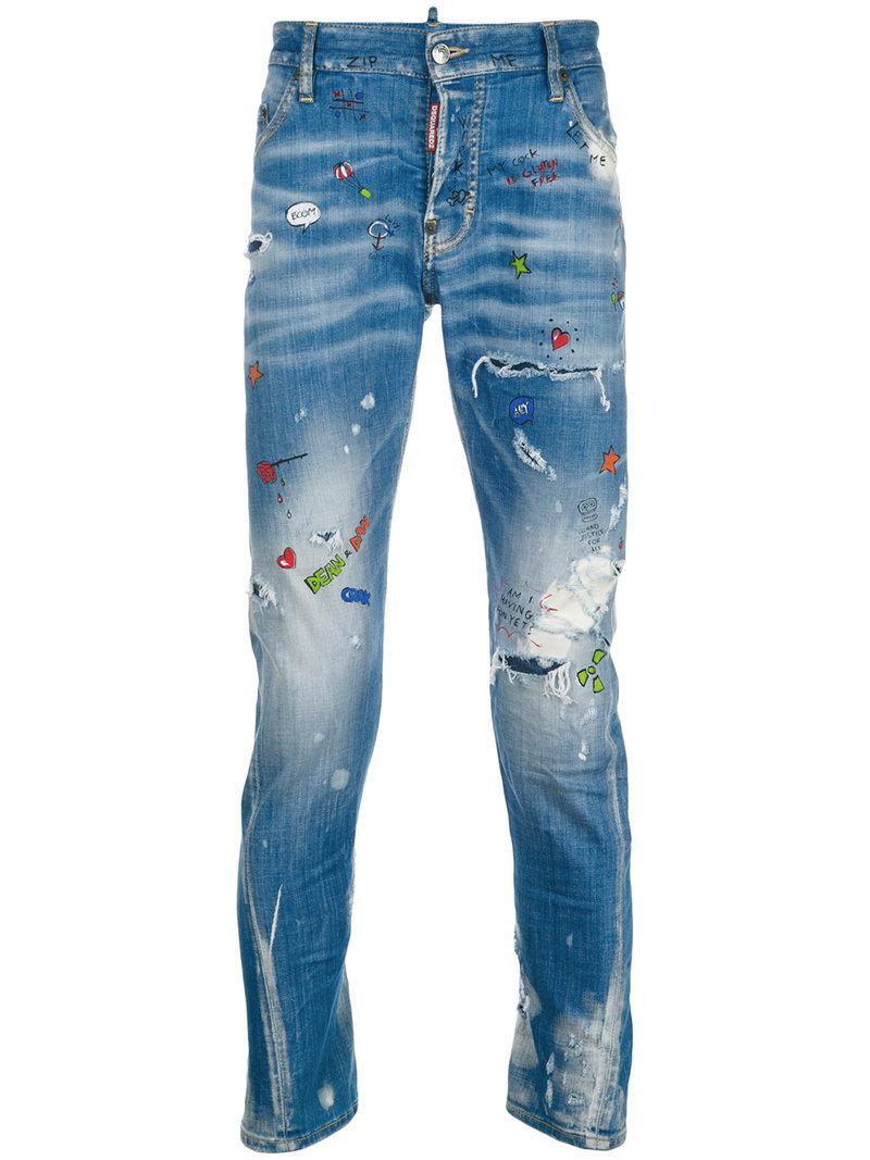 DSquared² Denim Sexy Twist Paint Splatter Jeans in Blue