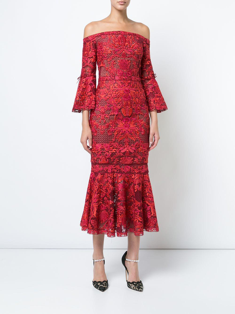 55b00f5e42c Lyst - Marchesa notte Embroidered Lace Off The Shoulder Dress in Red - Save  27%