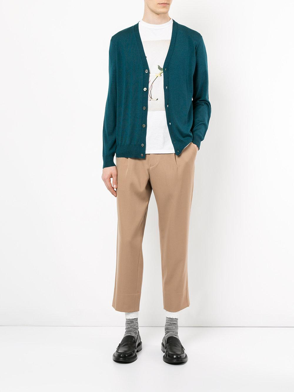 Tomorrowland Wool V-neck Cardigan in Green for Men