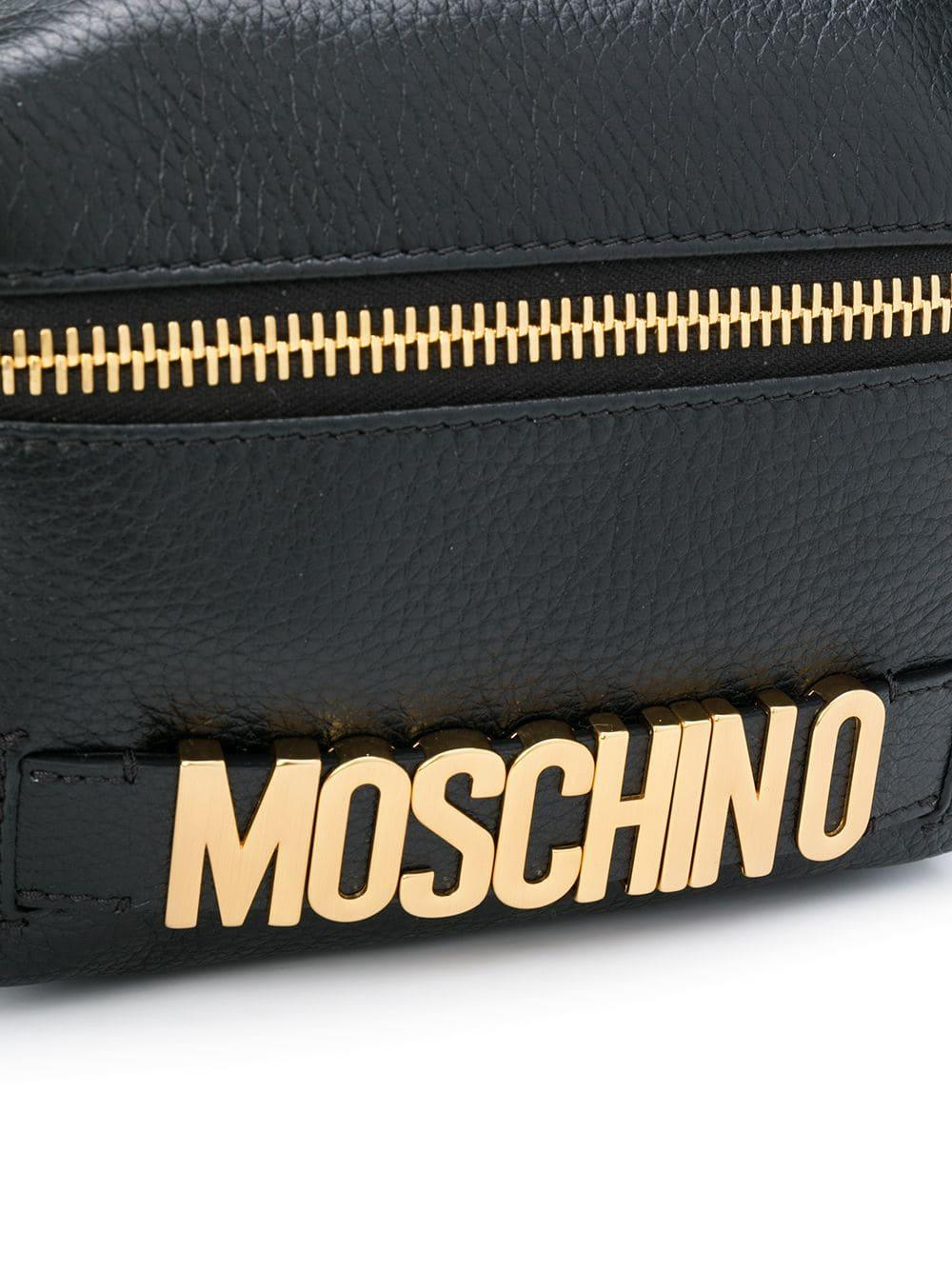 Moschino Leather Logo Plaque Backpack in Black