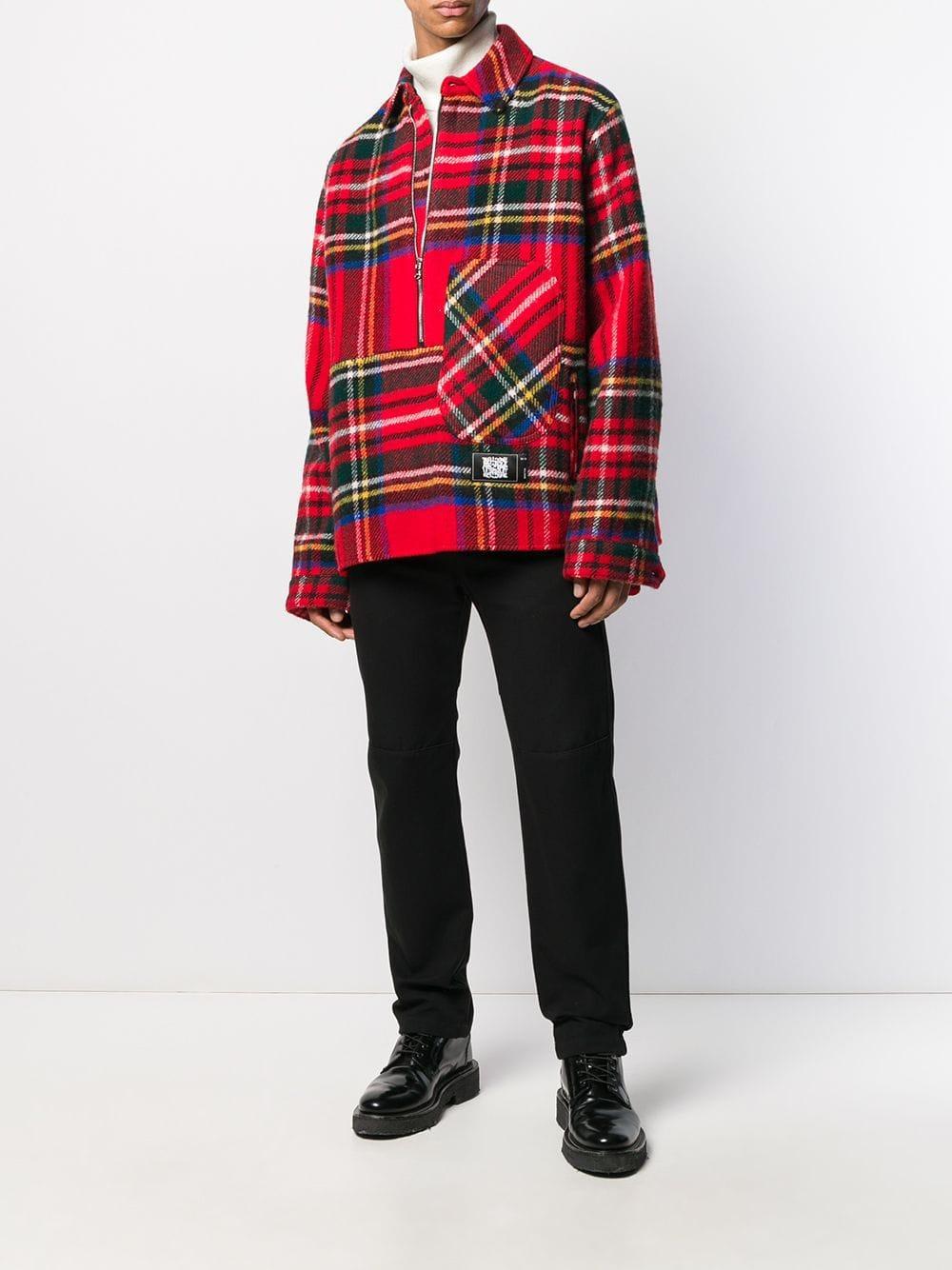 we11done Wol Geruite Sweater in het Rood voor heren