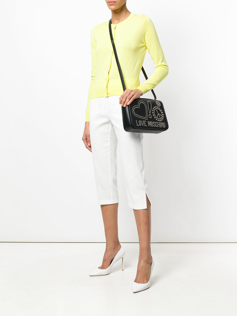 Love Moschino Leather Studded Logo Crossbody Bag in Black