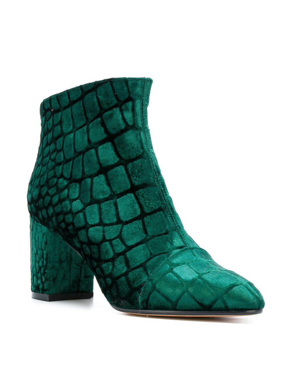 Jean-Michel Cazabat Velvet Printed Round Toe Booties in Green