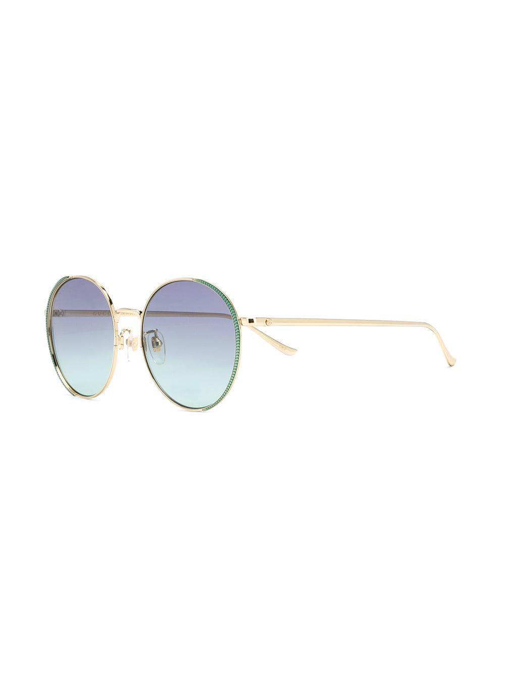 68148a1748b Gucci - Metallic Oversized Round Frame Sunglasses - Lyst. View fullscreen