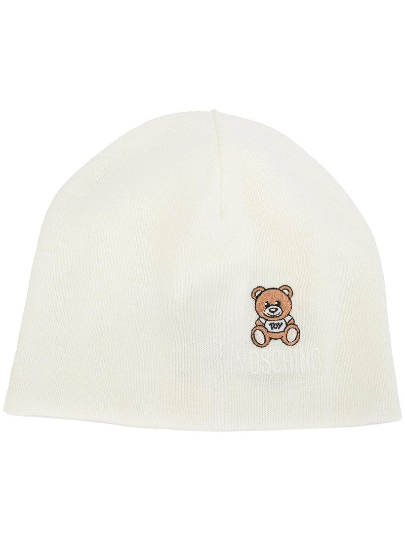 f6d6136c491eb6 Moschino Toy Bear Beanie Hat in White - Lyst