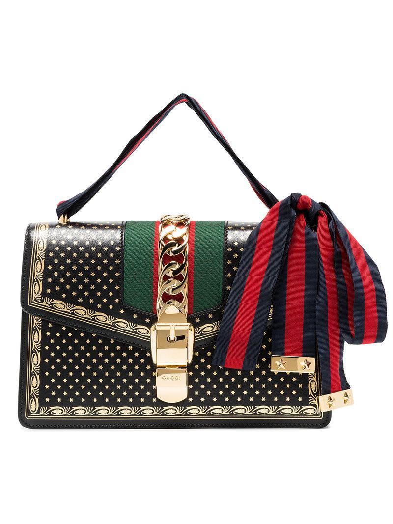 3f51d9c97788 Gucci Black Sylvie Small Stars Print Leather Shoulder Bag in Black ...