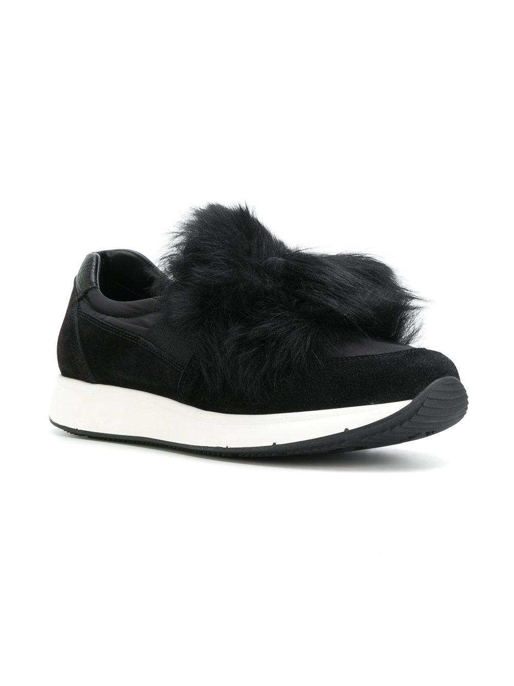 Car Shoe Slip On Fur Sneakers in Black
