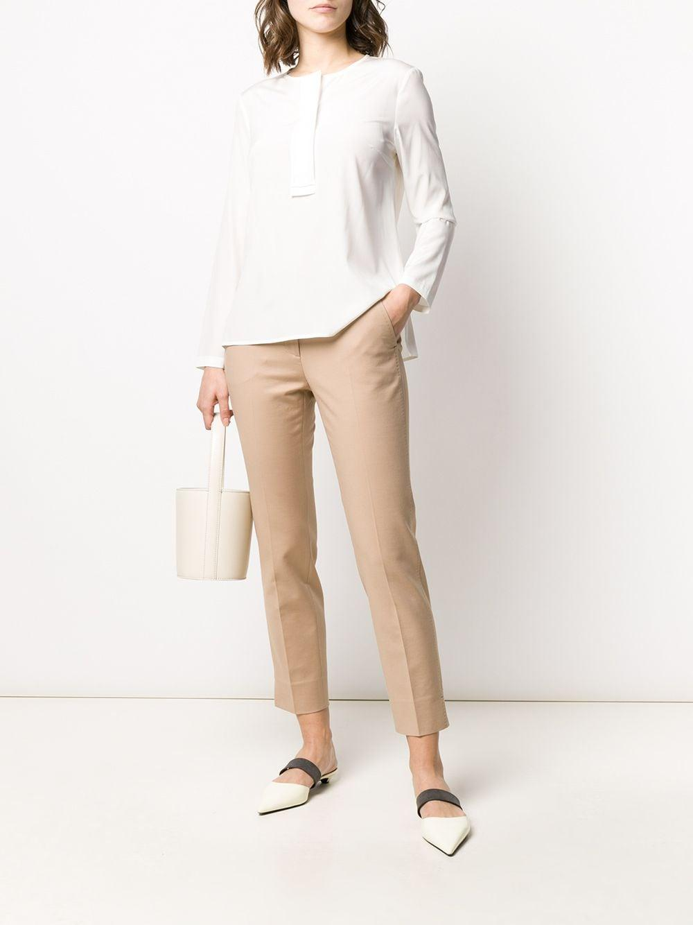 Blusa sin cuello con abertura redonda Peserico de Seda de color Blanco