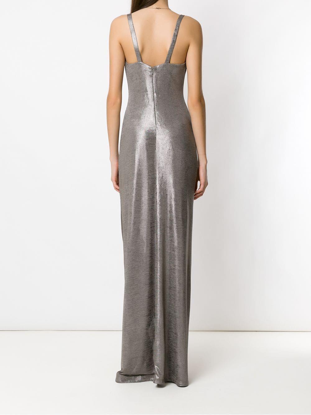Vestido largo metalizado Tufi Duek de Tejido sintético de color Gris