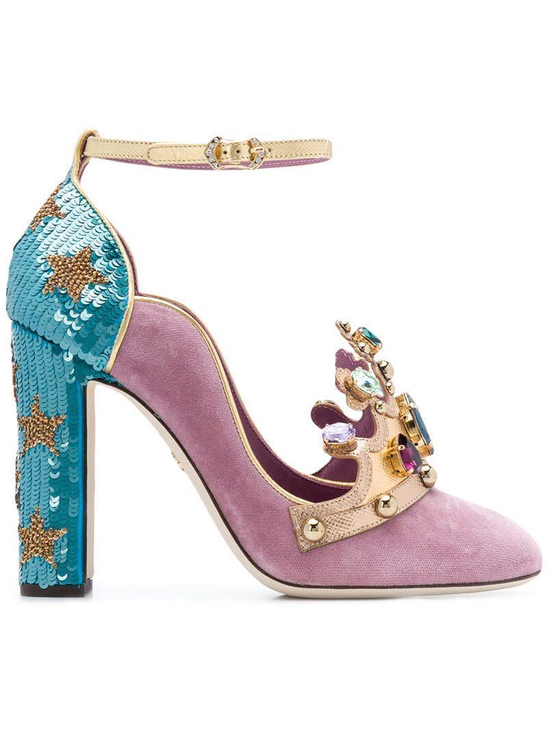 Dolce \u0026 Gabbana Velvet Crown Pumps By