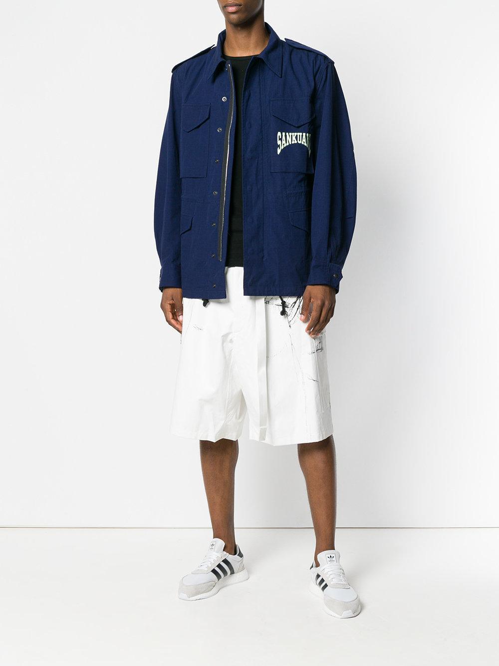 Sankuanz Cotton Logo Print Cargo Jacket in Blue for Men