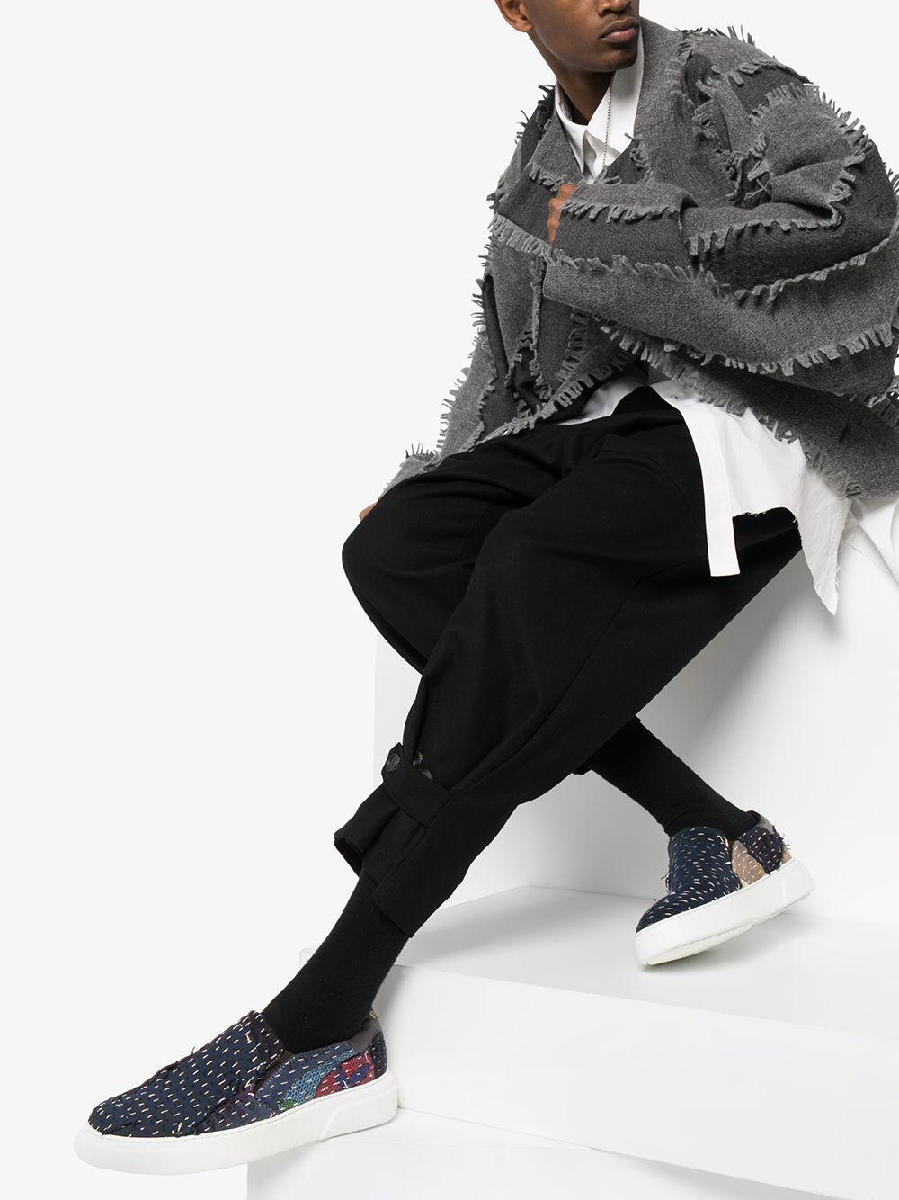 By Walid Leer Chinese Repatch Sneakers in het Blauw voor heren