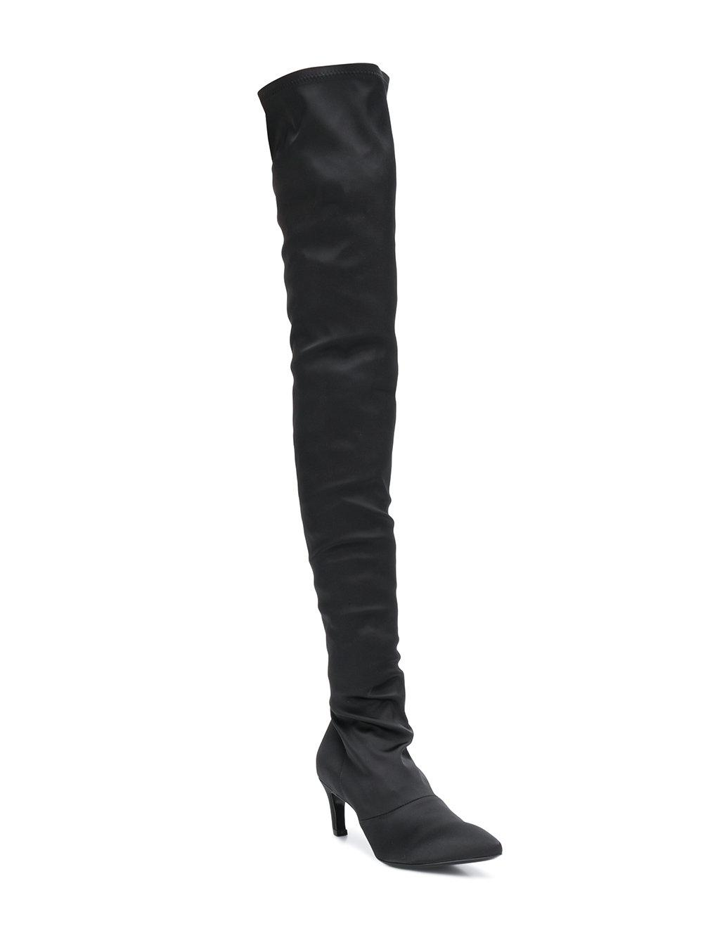 Marc Ellis Leather Heeled Thigh High Boots in Black