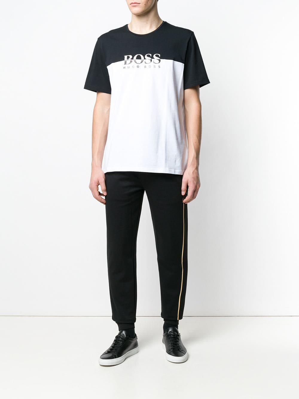 9c39853a BOSS Colour Block Logo T-shirt in Black for Men - Lyst