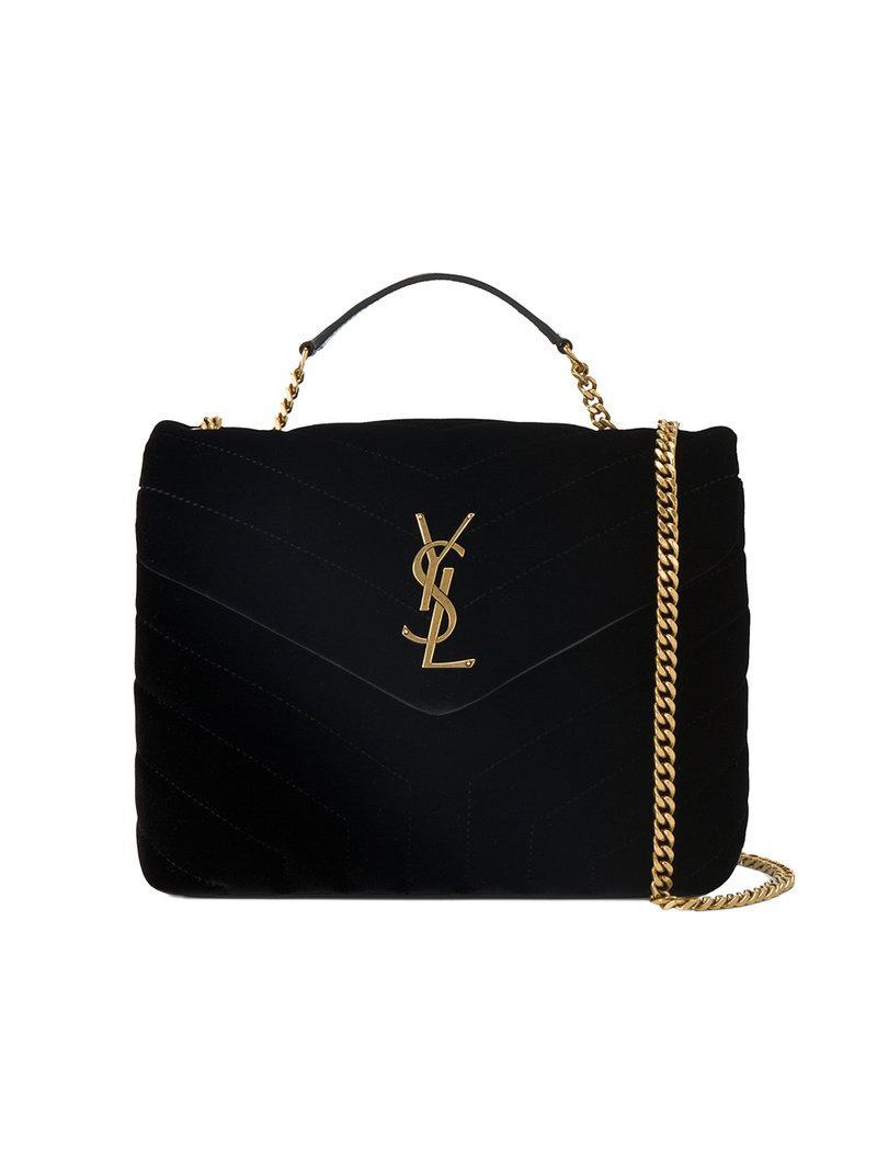 a729883bae Lyst - Saint Laurent Small Black Loulou Monogram Velvet Bag in Black