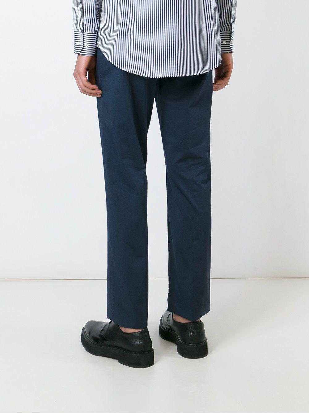 Etro Cotton Chino Trousers in Blue for Men