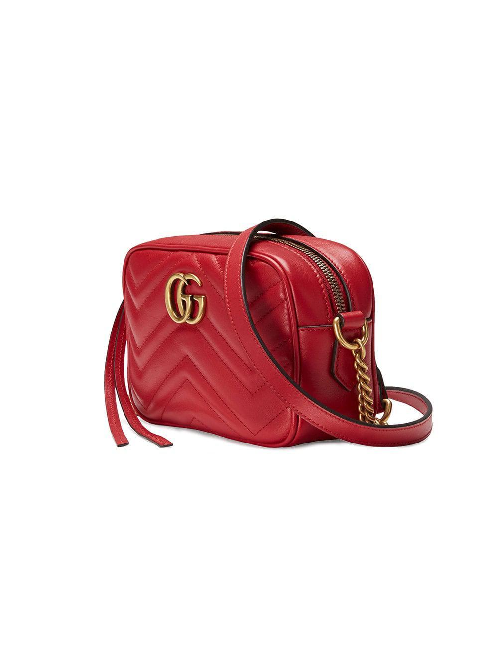 9ff2c1d9c63 Gucci - Red GG Marmont Matelassé Leather Mini Shoulder Bag - Lyst. View  fullscreen