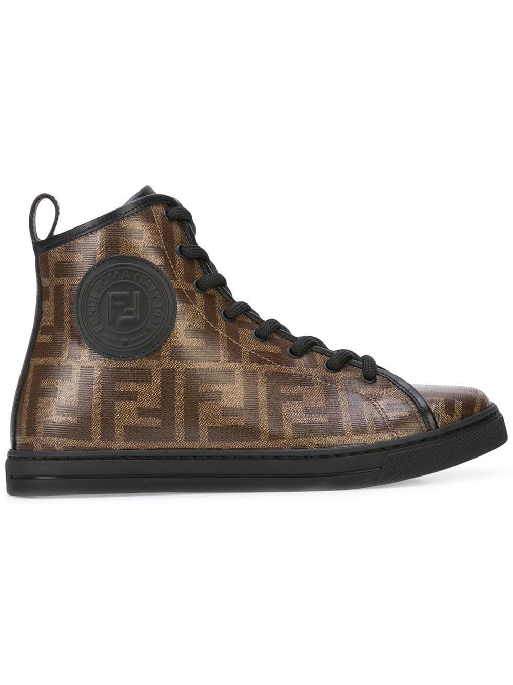 Fendi Rubber Logo High-top Sneakers in