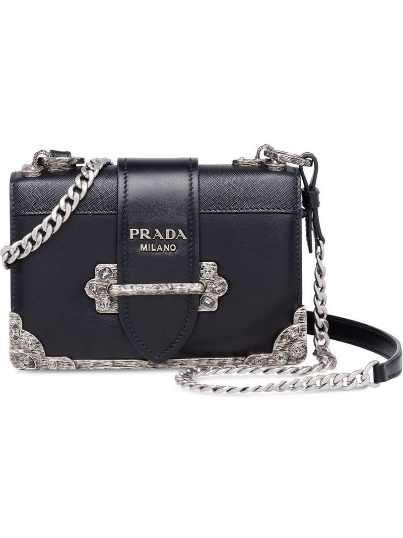 aa80f7f88930 Lyst - Prada Cahier Leather Shoulder Bag in Black
