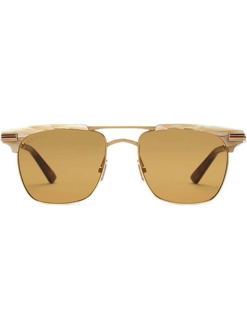 60c3ade1676 Gucci Square-frame Metal Sunglasses in Metallic for Men - Lyst
