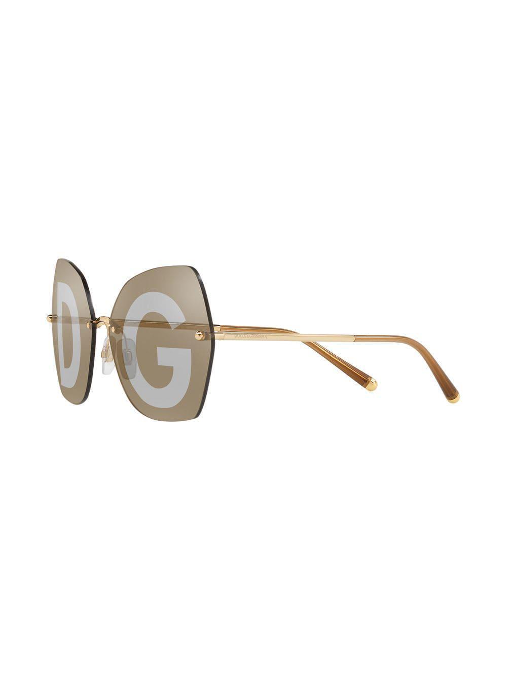 d76502e1f3a Dolce   Gabbana Monogram Lens Oversized Glasses in Metallic - Lyst