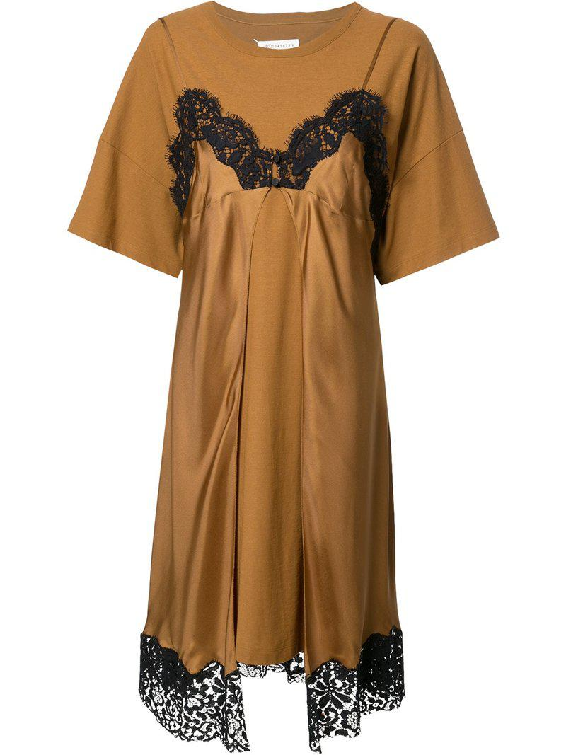 lace slip layered T-shirt dress - Brown Maison Martin Margiela Cheap Lowest Price dpx3F0A