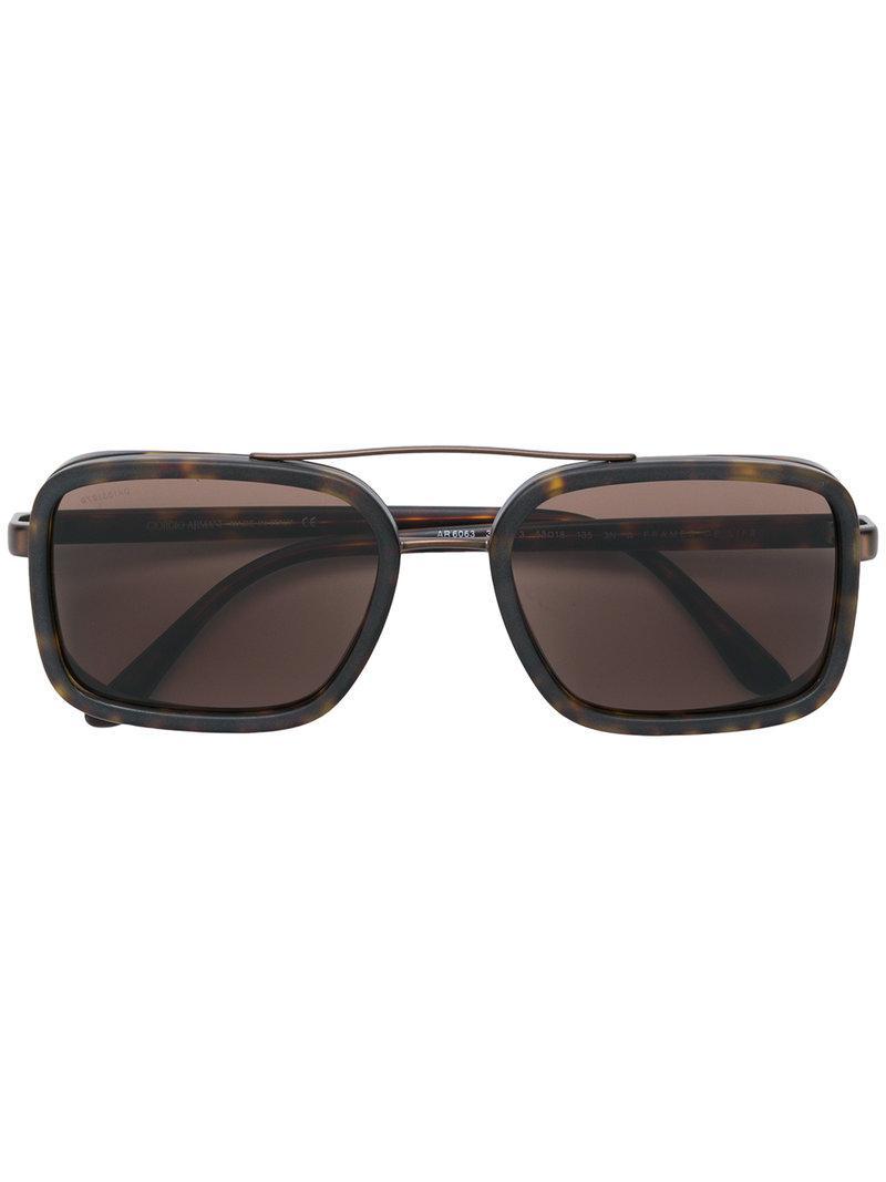 228fc340e2 Giorgio Armani Square Frame Sunglasses in Brown for Men - Lyst