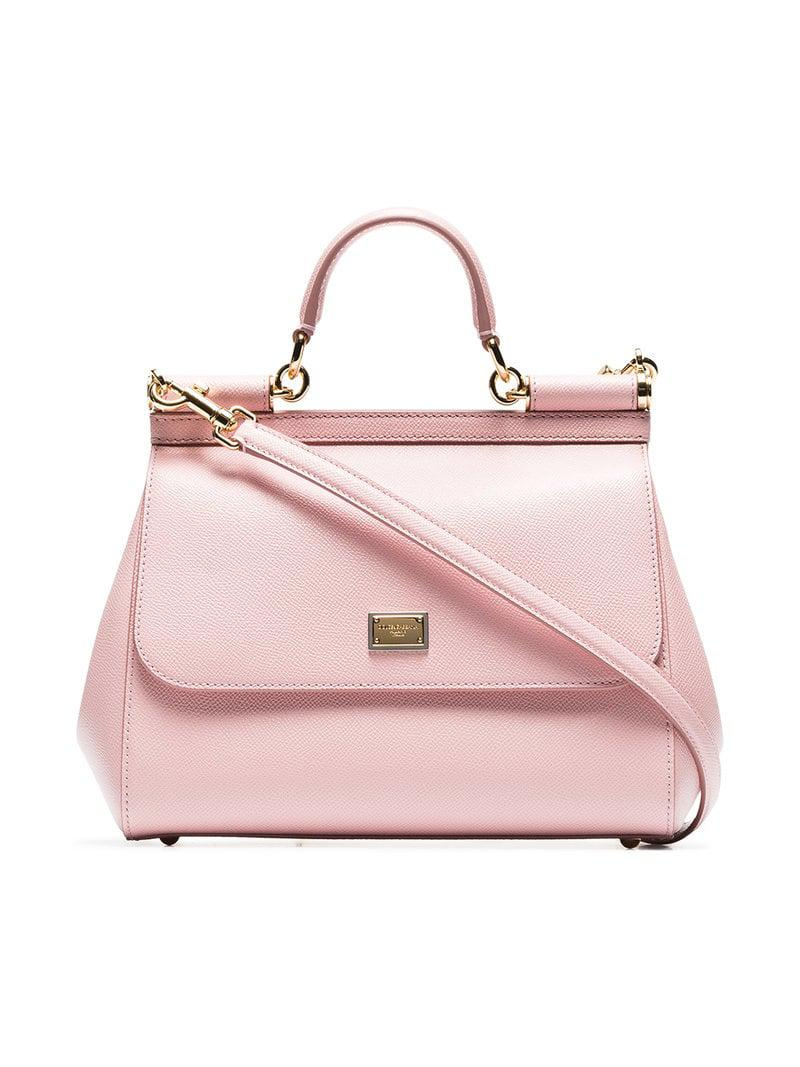 5b13716c3801 Lyst - Dolce   Gabbana Pink Sicily Medium Leather Tote in Pink ...