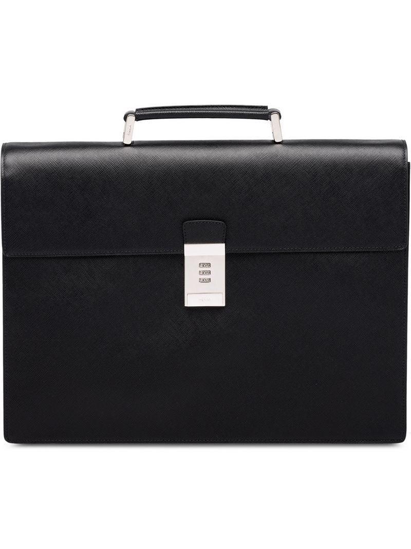 de70d02ae0fb Prada Code Lock Briefcase in Black for Men - Lyst
