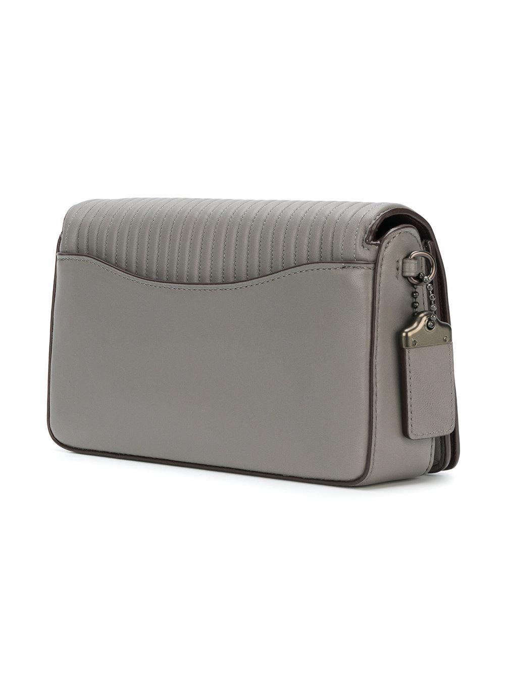 COACH Leather Dinky Crossbody Bag in Grey (Grey)