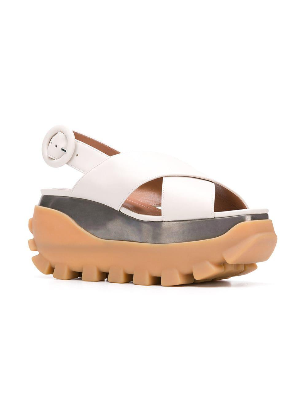 dc121c561d1 Marni Crossover Wedge Sandals in White - Lyst