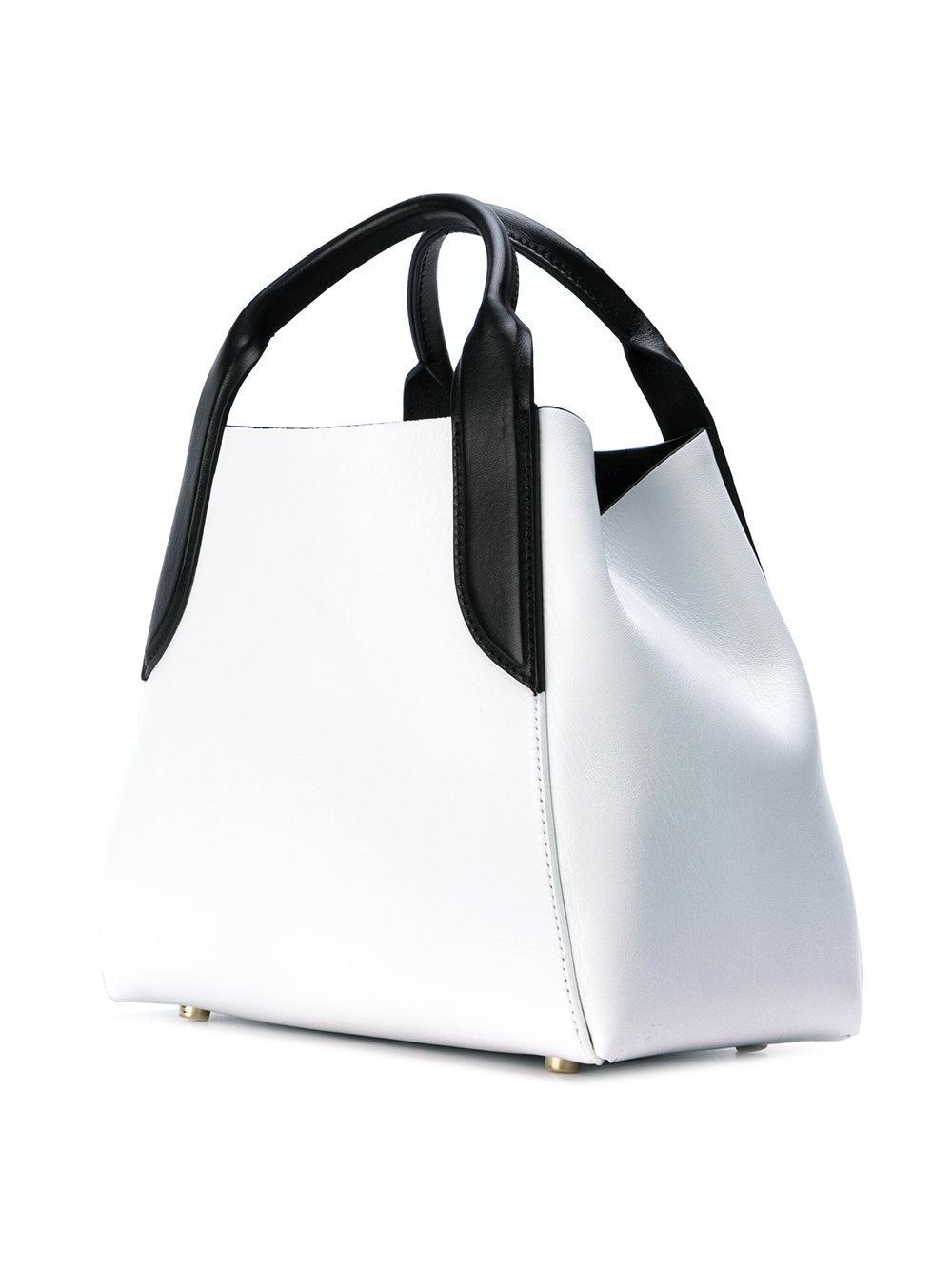 Lanvin Leather Mini Cabas Tote Bag in White