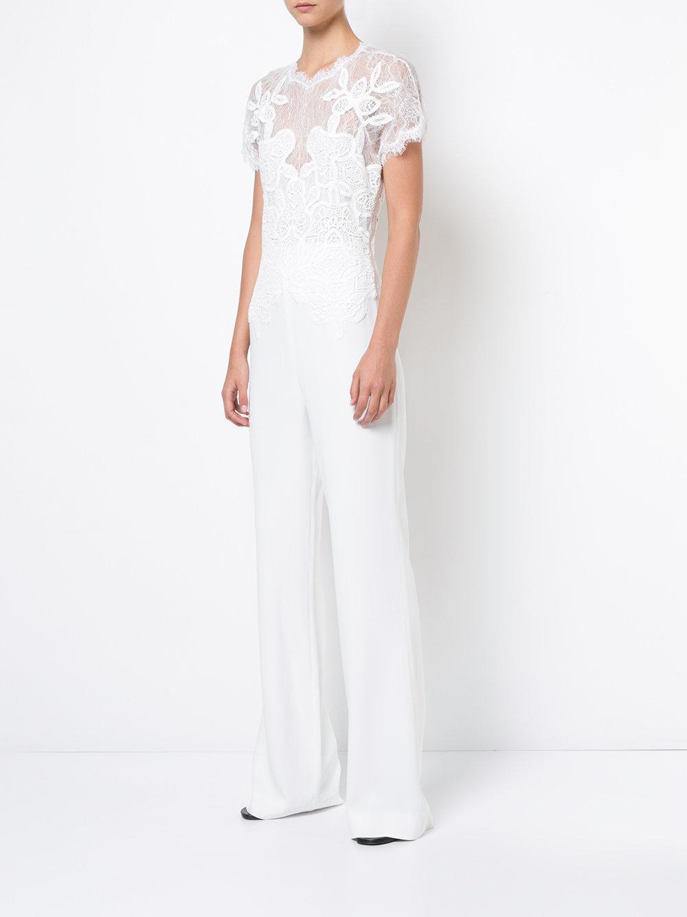 3028506f55de Lyst - Jonathan Simkhai Lace Bodice Jumpsuit in White