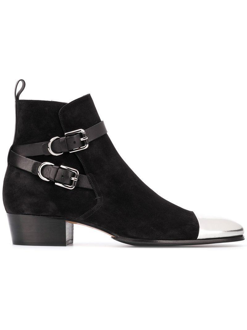86a91c0ac99 Balmain Black Metal Toe Cap Booties for men