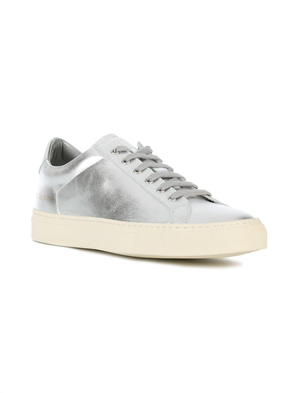 Common Projects Leather Achilles Low Top Sneakers in Metallic