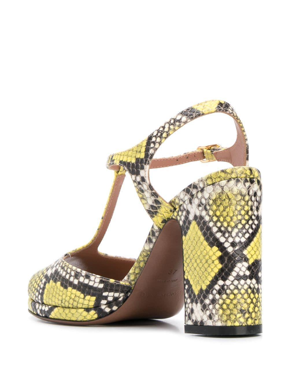 12cd83d882d L'Autre Chose Snakeskin Print Sandals in Yellow - Lyst