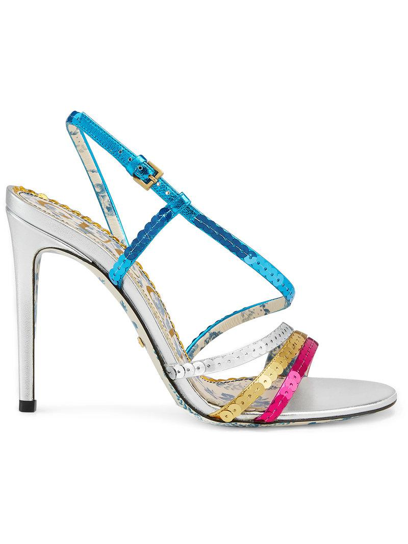70f324c1e Lyst - Gucci Metallic Leather Sandals With Sequins in Metallic