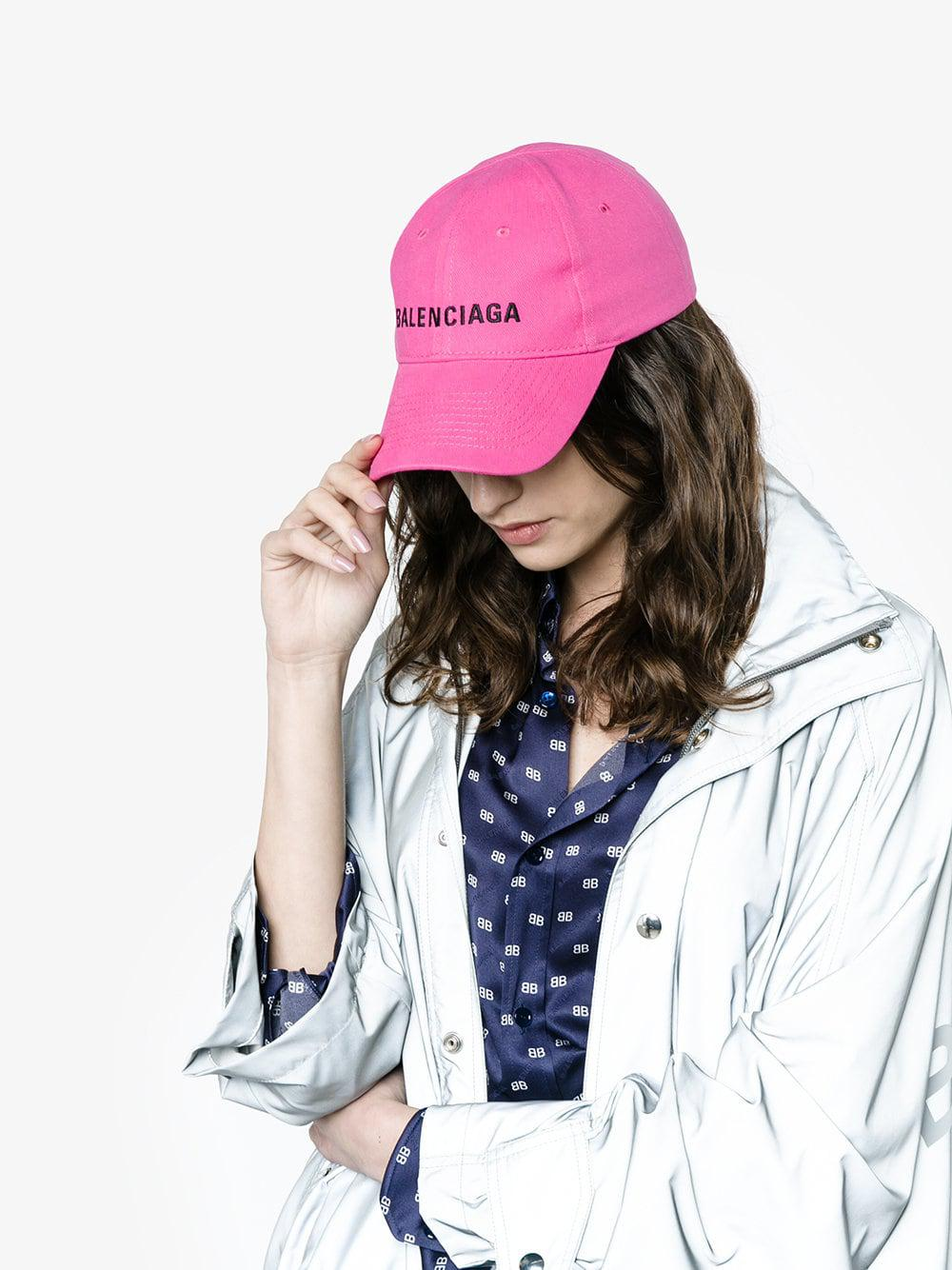 3aae852404750 Balenciaga Pink Logo Embroidered Cap in Pink - Save 42% - Lyst