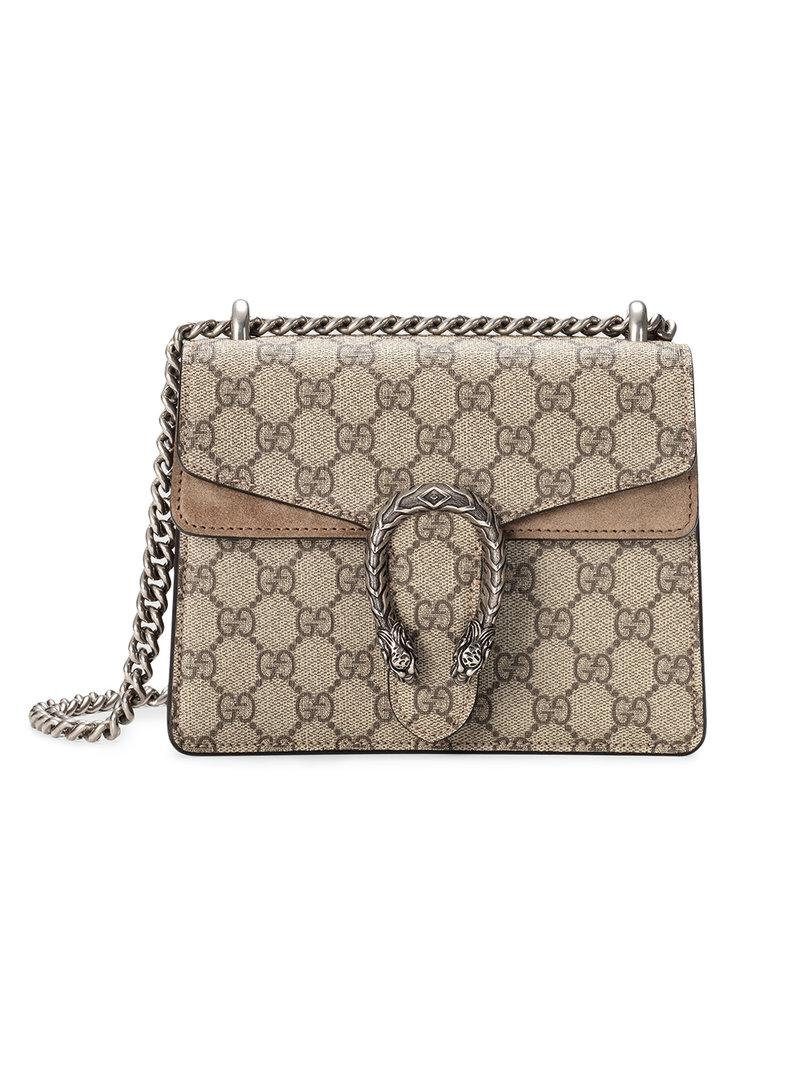 Gucci Dionysus Gg Supreme Canvas And Suede Shoulder Bag In