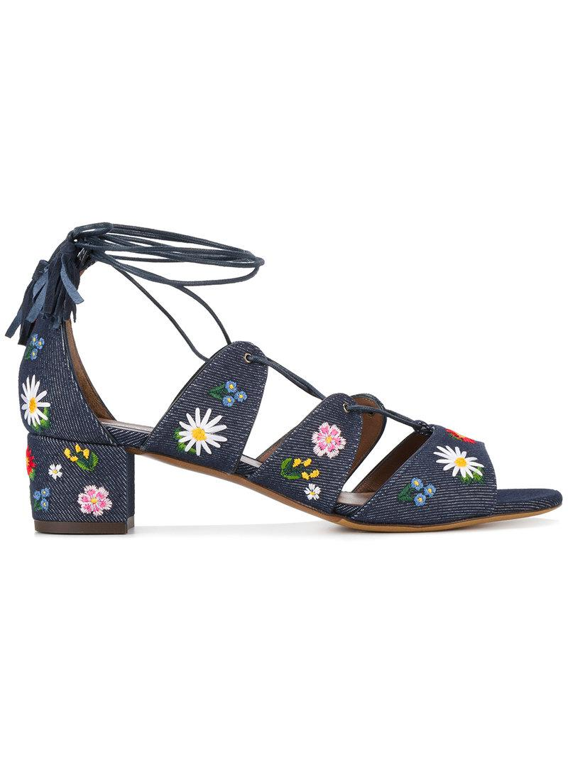 Tabitha Simmons Embroidered Denim Sandals discount professional outlet official 48q5Y