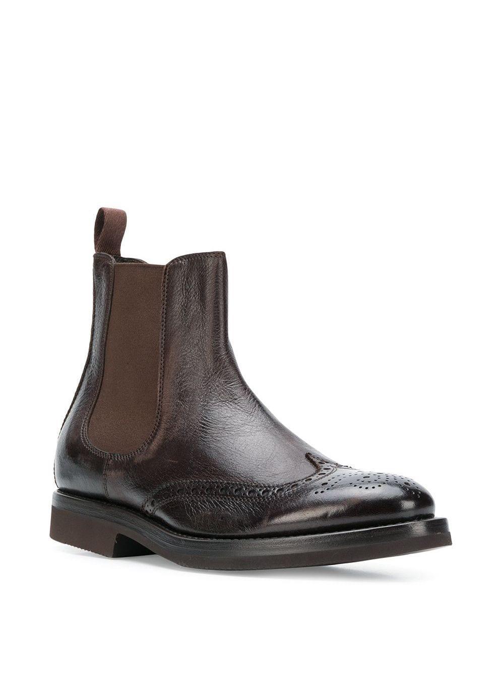 Henderson Leer Brogue Chelsea Boots in het Bruin voor heren