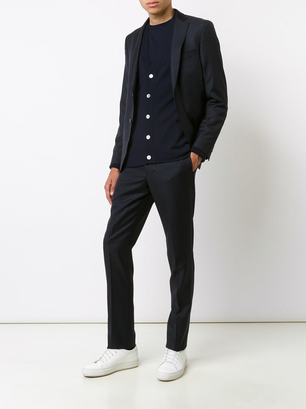 Officine Generale Wool Slim Tailored Trousers in Blue for Men