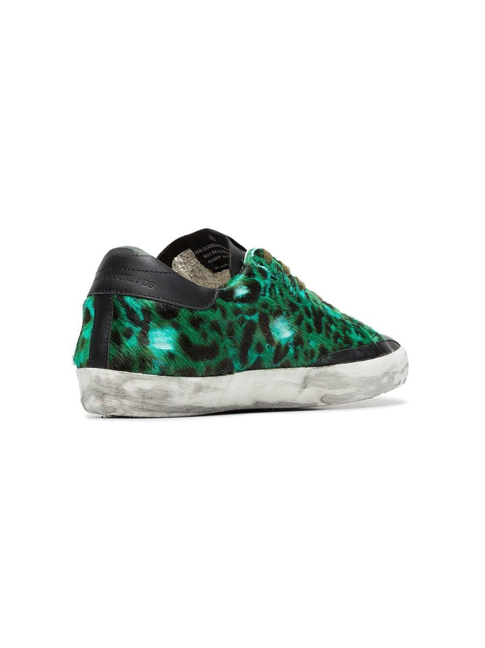 Golden Goose Deluxe Brand Green, Black And Silver Superstar Leopard Print Leather Sneakers