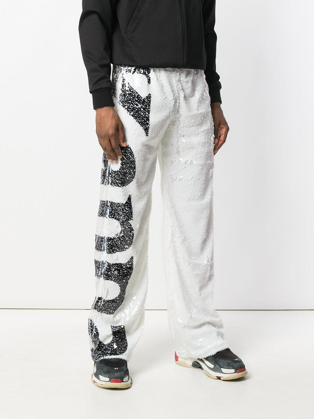Faith Connexion Synthetic Sequinned Track Pants in White for Men