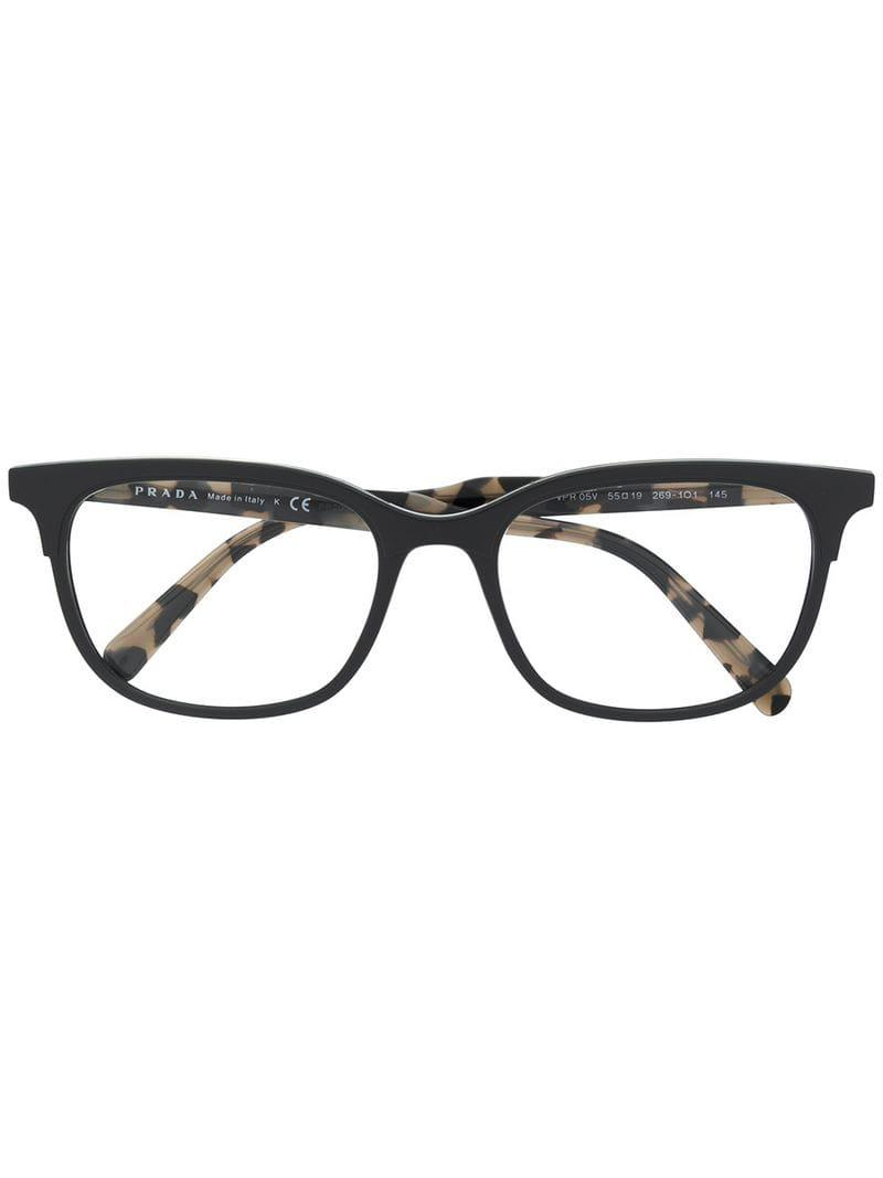 bf2b76ae00b Lyst - Prada Square Frame Glasses in Gray